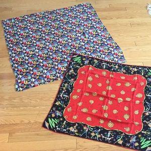 2 Nicole Miller Holiday Silk Scarves